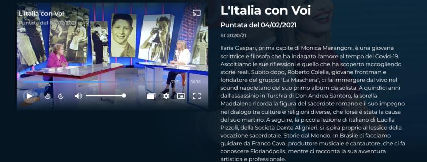 L'Italia con Voi – Intervista a Maddalena Santoro (4/2/2021)